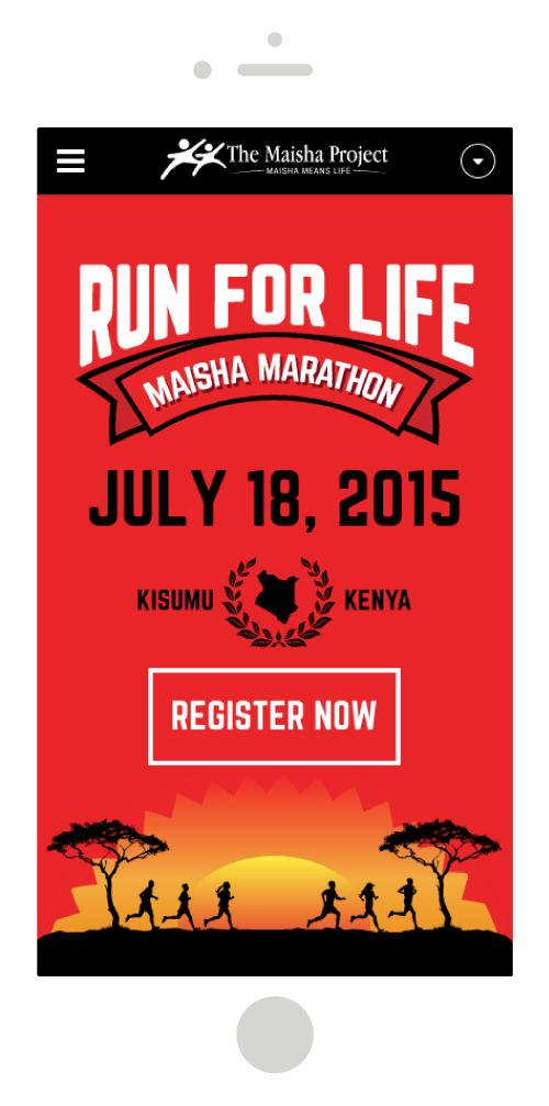 Run for Life Marathon Site Mobile Design